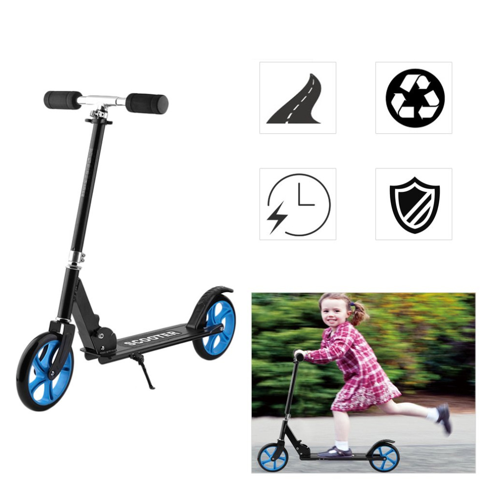 205mm PU Roue Forerake Tête Double De Frein Scooter Pour Enfant Adulte Réglable Hauteur Pliable Grande Roue Scooter