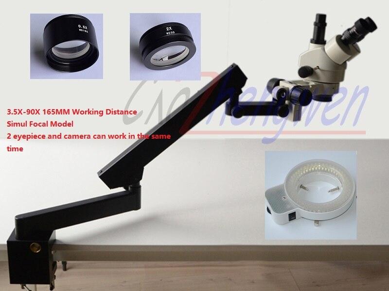 FYSCOPE 3.5X-90X SIMUL фокусных расстояний Стерео Увеличить микроскоп + коленчатые Стенд с зажимом 144LED