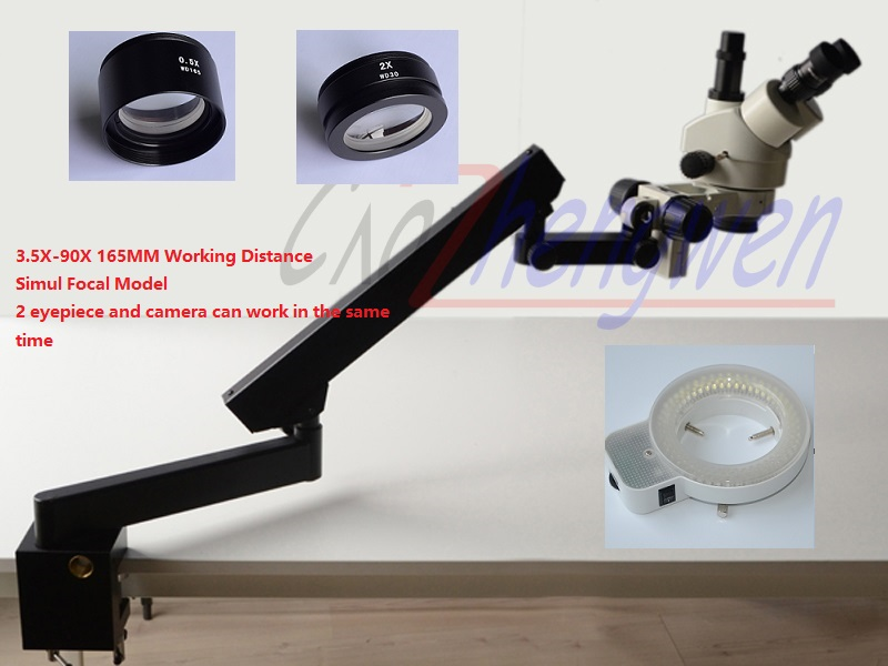 FYSCOPE 3.5X-90X SIMUL FOCAL STÉRÉO ZOOM MICROSCOPE + ARTICULATING STAND AVEC CLAMP + 144LED