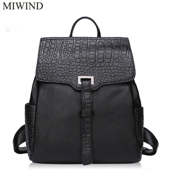 MIWIND Backpack Natural Soft Real Leather Backpacks Genuine First Layer Cow Leather Top Layer Cowhide Women Backpack WUB083
