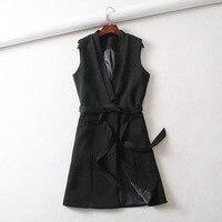 2018 Women Jacket Coat Sleeveless Women Black Vest Coat Colete Feminino Veste Femme Jacket Coat With Belt Women Autumn Outerwear