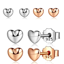 Petite Plain Hearts Stud Earrings For Women Fit Brand Fine Jewelry Brincos Silver/Rose Gold