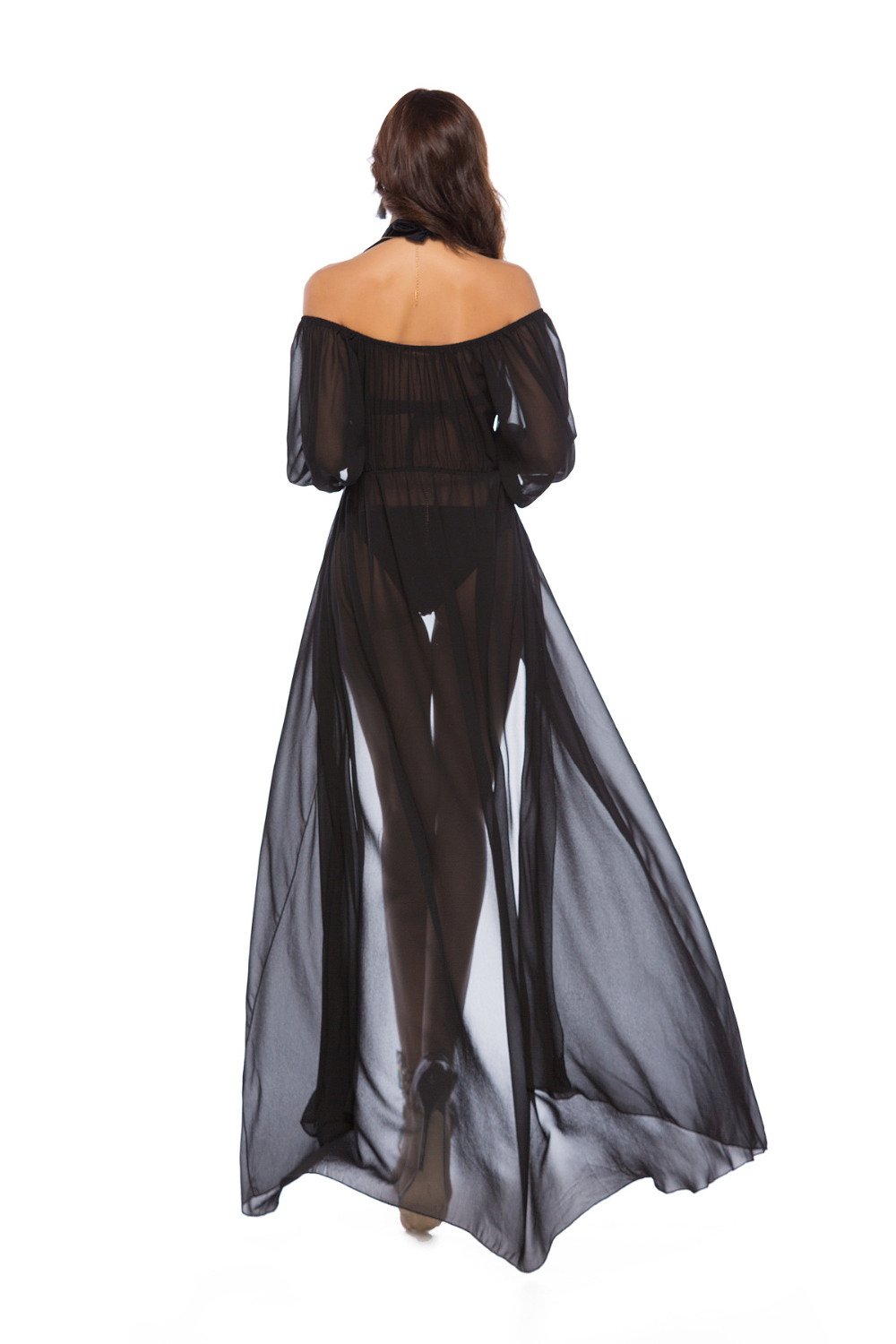 Sexy Beach Long Dress 2018 Women Summer Vintage Hippie High Fork Off Shoulder Beach Cover Up Dresses F097 in Cover Ups from Sports Entertainment