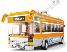Sluban B0332 City Bus Trolley Buses DIY Giocattoli Model Building Blocks Bricks Toys For Children Gift Compatible with Legoe