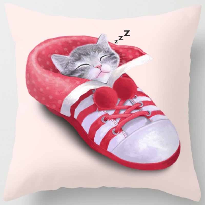 Hot sale funny cute cat pillow case men women girls ladies square pillow cases home throw pillow cover 45 45cm in Pillow Case from Home Garden
