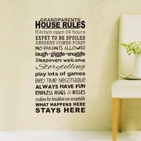 Removable Grandparents House Rules Wall Stickers Decal Art Vinyl Decor Home Living Room Classsic Black White