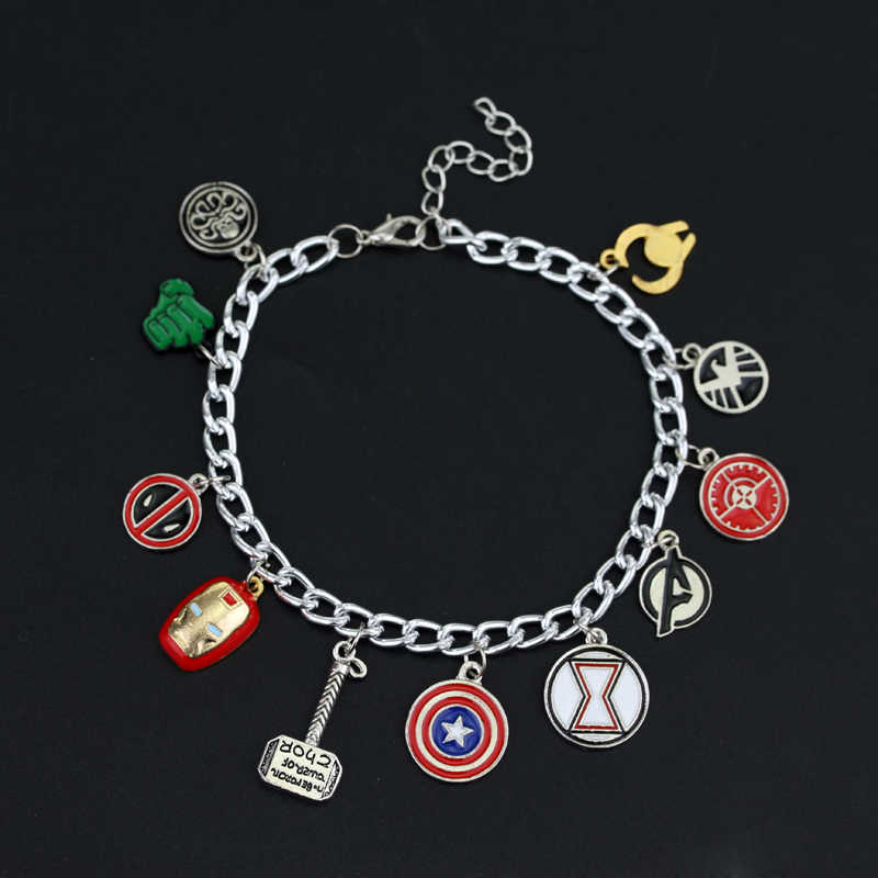 MQCHUN Marvel The Avengers Superhero Captain America Iron Man Deadpool Thor Wonder Woman Charm Bracelet for Women-40