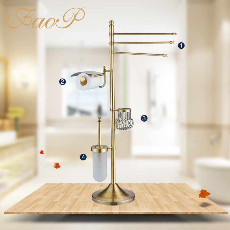 FAOP Roll Paper Holders Towel Bars Gold Antique brass Bath towel back Bath Hardware Sets Toilet Brush Single Toothbrush Holders image