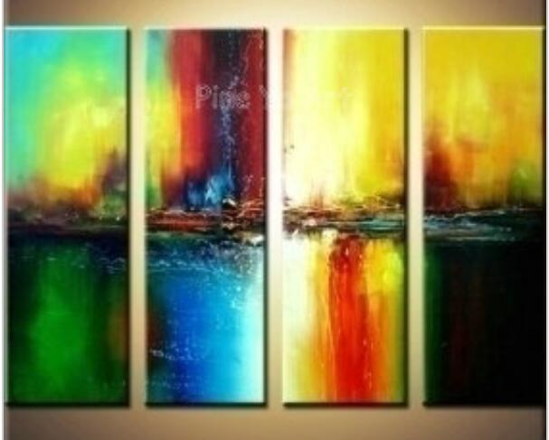 4 piece abstract modern muti panel canvas wall art Vertical colorful ...