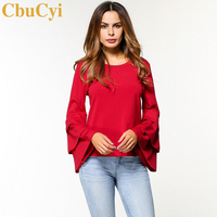 CbuCyi Fashion Tops Women Ruffles T Shirt Solid Color O Neck Flare Sleeve Tees Shirts Female