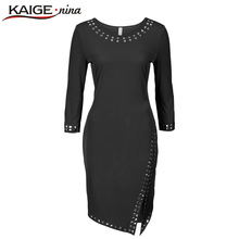 Sequin Vintage Women Autumn Winter Dress Casual Knee-Length Fashion Dress O-Neck 3 Colors Plus Size Slim Dress Vestido 2162