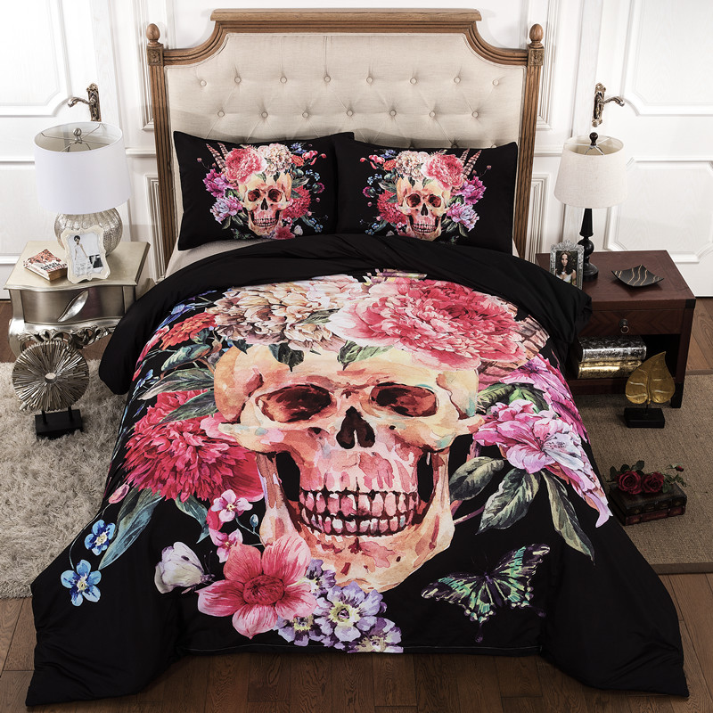 3d skull bedding sets queen size plaid duvet cover with pillow case bed active style