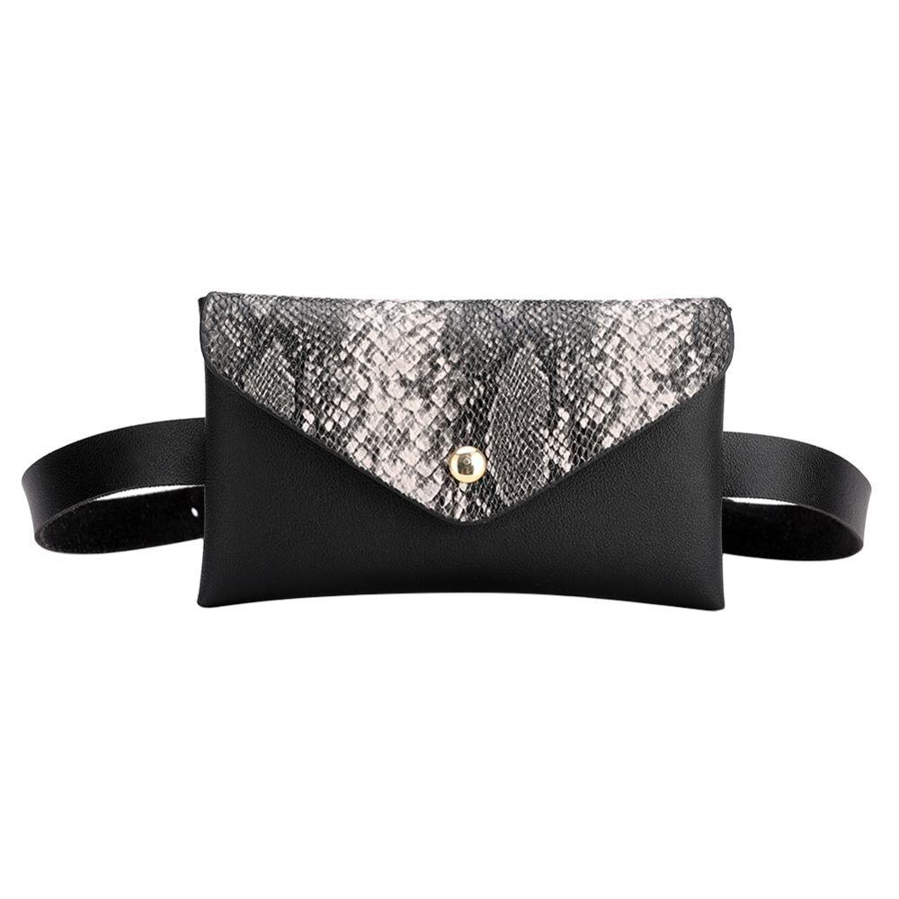 Snake Pattern Shoulder Waist Bags Fanny Belt Packs Phone Pouch Women Flap PU Leather Crossbody Casual Messenger Chest Bags