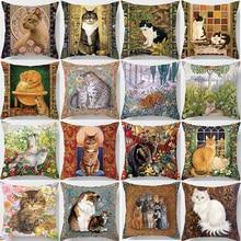 Hot sale cute  cats pillow cases square Pillow case cute cartoon rabbit pillow covers size 45*45cm hot sale beauty flower cats pillow cases square pillow case cute cartoon rabbit pillow covers size 45 45cm