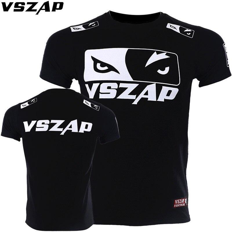 VSZAP Fighting T-Shirts Quick Dry MMA Rashguard Boxing T Shirt Men MMA Gym Kickboxing Muay Thai Boxing Training