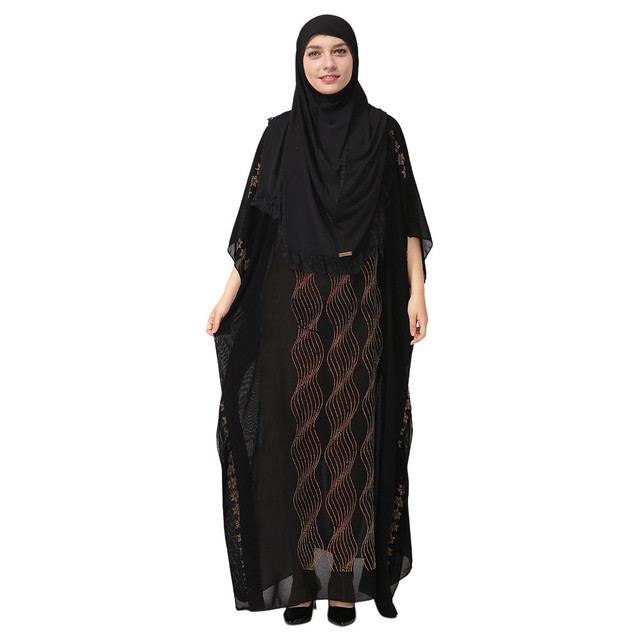 National Style Dubai Abaya Women Muslim Dress Loose Abaya Kaftan Turkish Muslim Women Long Dress Turkish Islam Muslim Dress A 1