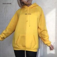 Zuolunouba Autumn Winter Fashion yellow Fleece Harajuku Pullover Female Loose Women