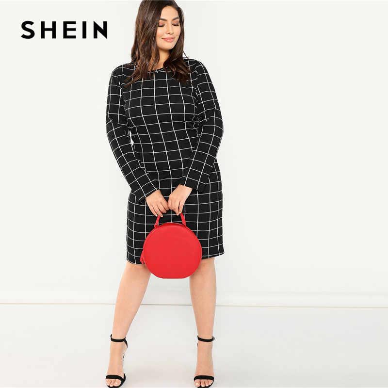 SHEIN плед плюс размер черное облегающее платье-карандаш офисное женское платье с длинным рукавом облегающее платье в сеточку с принтом женское платье по колено