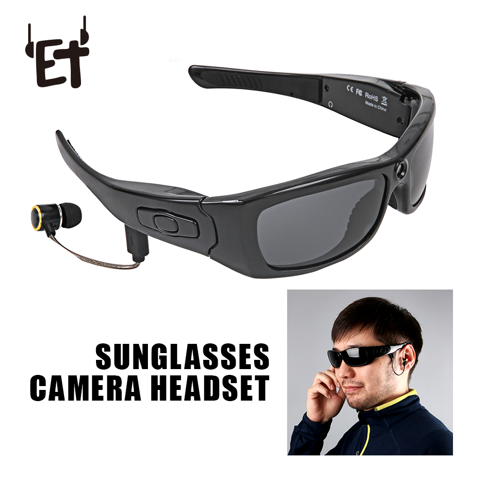 ET Sunglasses Camera Headset HD1080P Bluetooth MP3 Player Photo Video Recorder Mini DV Camcorder For Outdoor Mini Camera Glasses