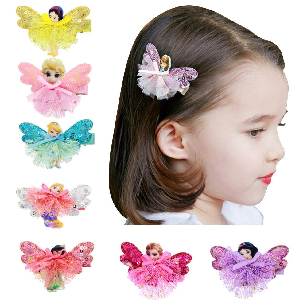2pcs/lot Cute Elsa Anna Princess Girls Skirts Hair Clip Cartoon Hair Pins mini Dress Butterfly Hairpins Kids Hair Accessories