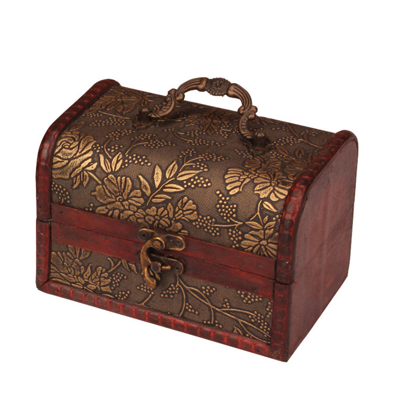 Zakka Vintage smyckeskrin litet trä Förvaringslåda hander för hantverkare kista Dekorativt