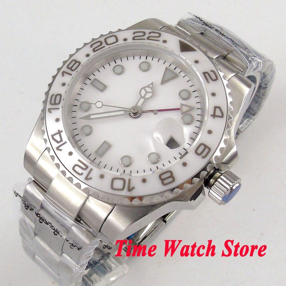 Solid 40mm GMT men's watch white dial luminous saphire glass Ceramic Bezel Automatic movement wrist watch men 104