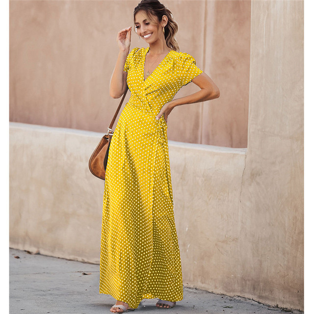 feedff376bd 2019 Women Summer Sexy Bohemian Beach Dresses Fashion Korean Casual Dot  Maxi Dress Plus Size