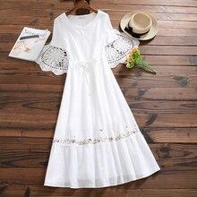 Mori Girl белое летнее платье новые женские хлопковые и льняные платья с вышивкой японские длинные винтажные платья Vestidos одежда