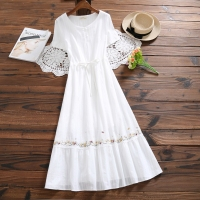 Mori Girl White Summer Dress 2018 New Fashion Women Cotton and Linen Embroidery Dresses Japanese Long Vestidos S XL Clothes
