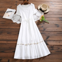Mori Girl White Summer Dress 2019 New Women Cotton and Linen Embroidery Dresses Japanese Long Vintage Vestidos Clothes