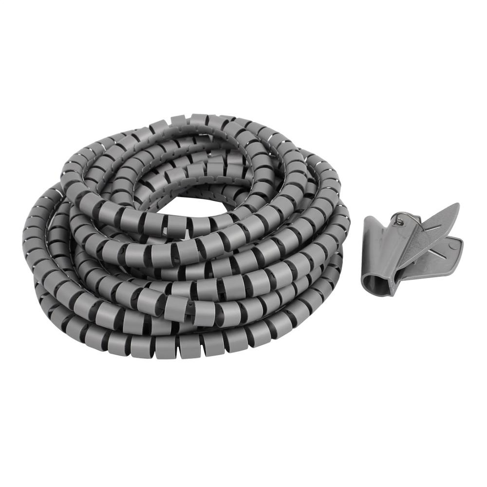5M Length Black Grey 15mm Spiral Wire Organizer Wrap Tube Flexible Manage Cord for PC Computer Home Hiding Cable with Clip 1bag black pe yl692 4mm 6mm 8mm 10mm 12mm feet spiral wire organizer wrapping tube flexible manage cord hiding cable sleeves