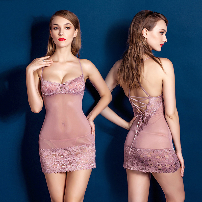 Fast Shopping 2016 New High Quality Sexy Lingerie Ladys Lace Slips Dress Hollow Steel Prop -2122