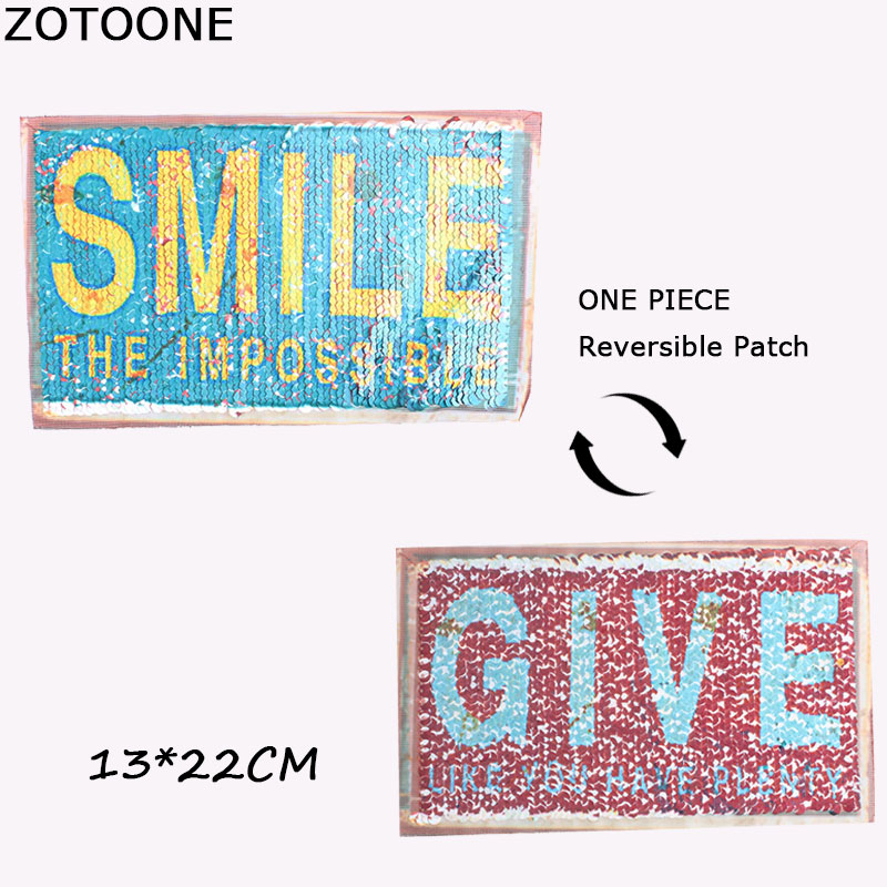 ZOTOONE Letter Reversible Change Color Sequins Patch Sew on Patches for Clothes DIY Patch Applique Bag Clothing Sweater Craft B