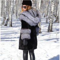 Winter Real Rabbit Fur Coat With Silver Fox Fur Hood Collar New Women Natural Fur Top Grade Elegant Casual Natural Fur 12.11