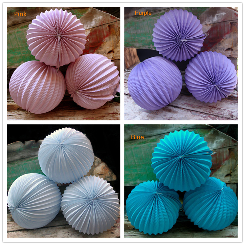 5pcs/lot 9inch(23cm) Japanese Round Paper Accordion Lanterns Ball Wedding Bridal Baby Shower Decorations