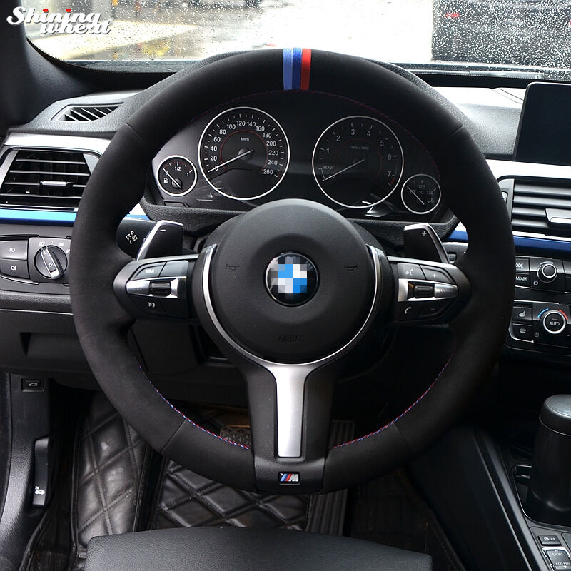 Bleu Foncé Bleu Rouge Marqueur Noir Suede Volant Couverture pour BMW F33 428i 2015 F30 320d 328i 330i 2016 M3 M4 2014-2016