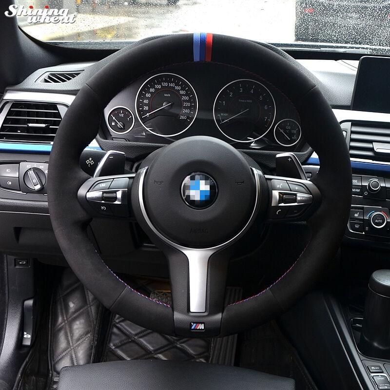 Blue Dark Blue Red Marker Black Suede Steering Wheel Cover for BMW F33 428i 2015 F30 320d 328i 330i 2016 M3 M4 2014-2016