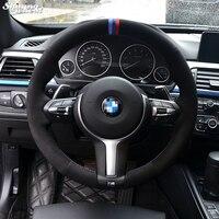 Blue Dark Blue Red Marker Black Suede Steering Wheel Cover for BMW F33 428i 2015 F30 320d 328i 330i 2016 M3 M4 2014 2016