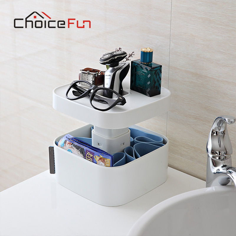 CHOICE FUN Multifunction Desktop Makeup Organizer Household Bathroom Private Cosmetics Plastic Large Storage Box