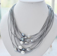 Elegant Handmade Real Pearl Jewelry 15 Rows 13mm White Black Rice Freshwater Pearl Gray Leather Necklace