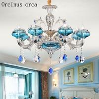New Mediterranean Creative Blue LED crystal chandelier living room bedroom European luxury titanium crystal lamp