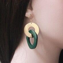 1 Pair Trendy Geometric Copper Dangle Earrings Wood Drop Earrings For Women E115 elixa e115 l466