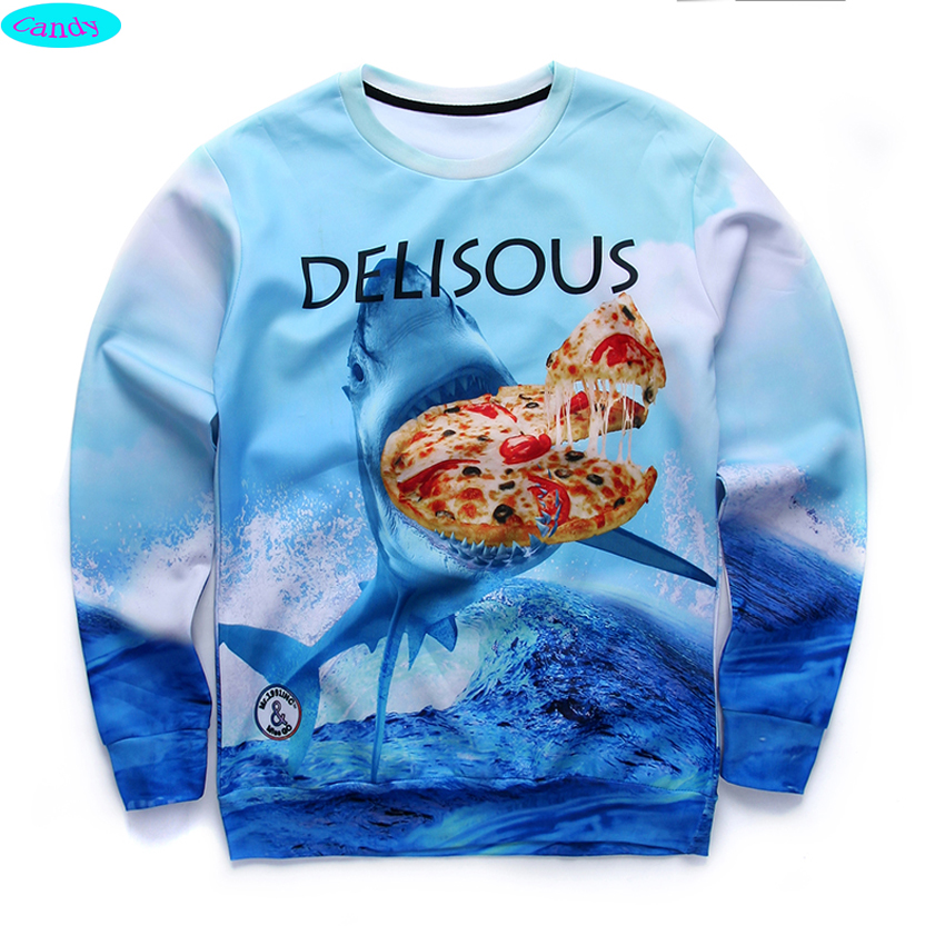 newest youth fashion brand funny 3D Jaws pizza printed font b hoodies b font boys teens