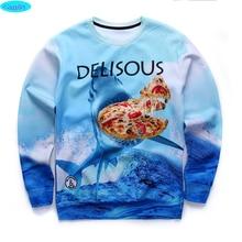newest youth fashion brand funny 3D Jaws pizza printed hoodies boys teens Spring Autumn thin sweatshirts big kids sportwear W13