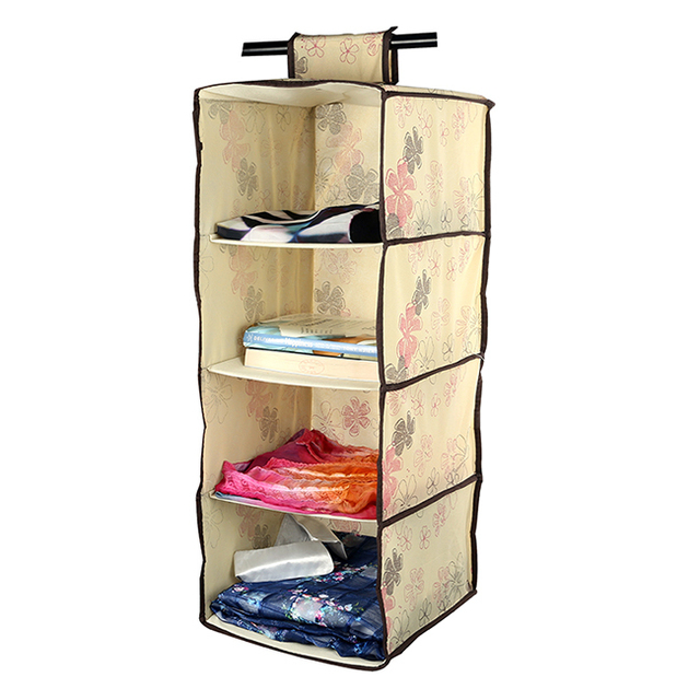 Merveilleux LAGUTE 4 Shelf Hanging Wardrobe Storage Clothing Shelves Closet Organizer