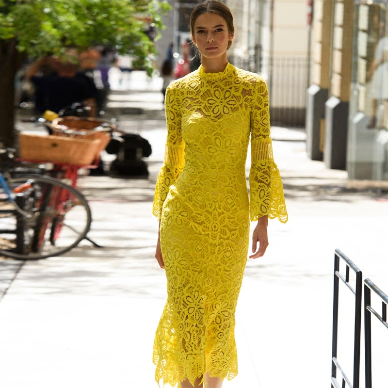 2018 New Spring Summer Women Elegant Yellow Lace Mermaid Dress Flare Sleeve Solid Color Long Trumpet Dresses High Quality