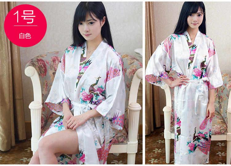 Большие размеры, модное женское летнее соблазнительное кимоно, длинный халат, Синяя женская ночная рубашка из вискозная юката, Pijama Mujer Mds010