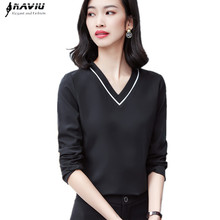 Naviu Korean Style Blouses Woman 2019 Blusa Feminina Fashion V Neck Office Ladies Formal Plus Size Tops