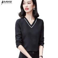Naviu koreański styl bluzki kobieta 2019 Blusa Feminina moda V Neck biurowa, damska formalne bluzka w rozmiarze Plus Size