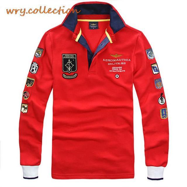 Aeronautica MILITARE поло человек рубашки поло, Италия рубашка с длинным рукавом, Ввс вышивка свободного покроя поло бесплатная доставка